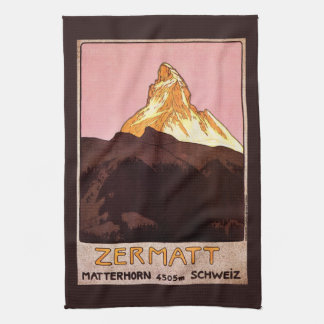 Vintage Travel, Matterhorn Mountain, Switzerland Hand Towel