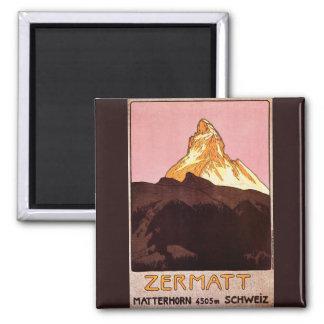 Vintage Travel, Matterhorn Mountain, Switzerland Magnet