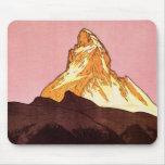 Vintage Travel, Matterhorn Mountain, Switzerland Mousepads
