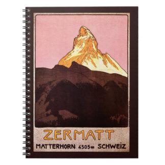 Vintage Travel, Matterhorn Mountain, Switzerland Notebook