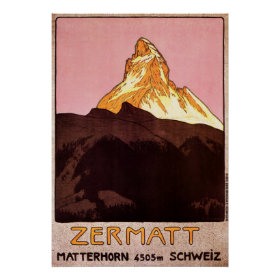 Vintage Travel, Matterhorn Mountain, Switzerland Posters