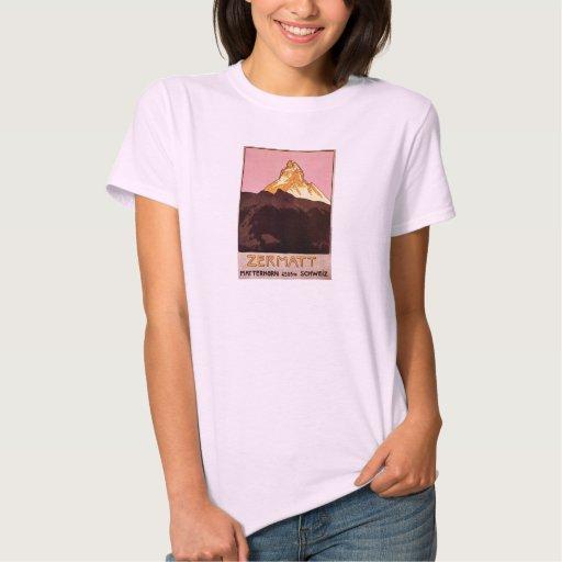 Vintage Travel, Matterhorn Mountain, Switzerland T Shirts