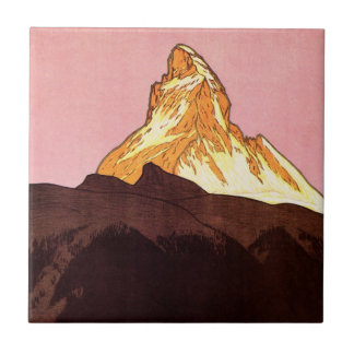 Vintage Travel, Matterhorn Mountain, Switzerland Tiles