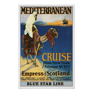 Vintage travel,Mediteranian Cruise. Poster