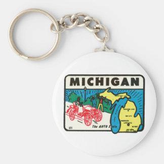Vintage Travel Michigan MI Auto State Label Basic Round Button Keychain