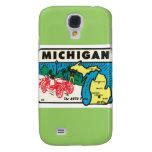 Vintage Travel Michigan MI Auto State Label Galaxy S4 Cases