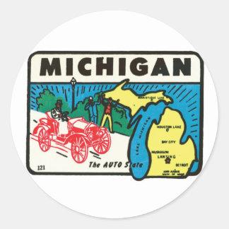 Vintage Travel Michigan MI Auto State Label Classic Round Sticker