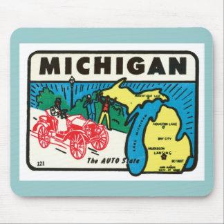 Vintage Travel Michigan MI Auto State Label Mouse Pad