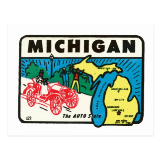 Vintage Travel Michigan MI Auto State Label Postcard