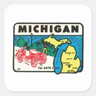 Vintage Travel Michigan MI Auto State Label Square Sticker