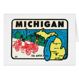Vintage Travel Michigan MI Auto State Label Stationery Note Card