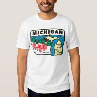 Vintage Travel Michigan MI Auto State Label Tees