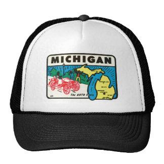 Vintage Travel Michigan MI Auto State Label Trucker Hat