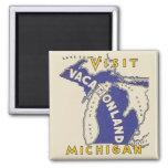 Vintage Travel - Michigan Vacationland 2 Inch Square Magnet
