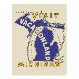 Vintage Travel - Michigan Vacationland Postcard