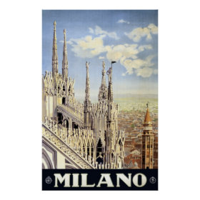 Vintage Travel Milano Italy Gothic Cathedral Duomo Poster