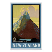 Vintage Travel Milford Sound New Zealand Poster