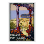 Vintage travel,Monte-Carlo Poster
