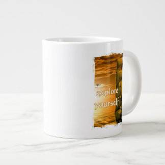 vintage travel motivational quote explore yourself large coffee mug