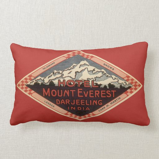 Vintage Travel, Mount Everest, Darjeeling India Pillows