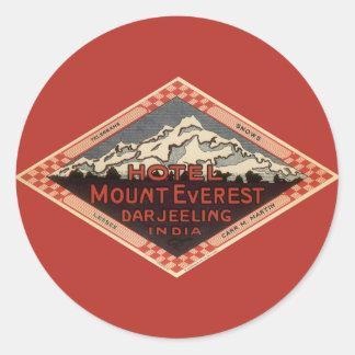 Vintage Travel Mount Everest Darjeeling India Round Stickers