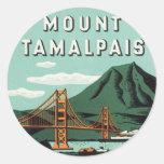 Vintage Travel, Mount Tam, Tamalpais Mountain Round Stickers