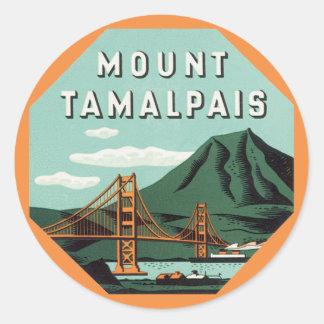 Vintage Travel, Mount Tam, Tamalpais Mountain Round Sticker