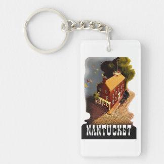 Vintage Travel Nantucket Massachusetts MA :: Single-Sided Rectangular Acrylic Keychain