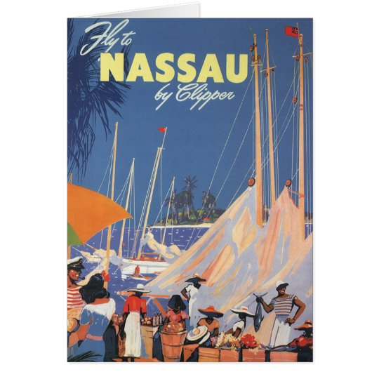 Vintage Travel, Nassau Harbor, Florida, Sailboats Card