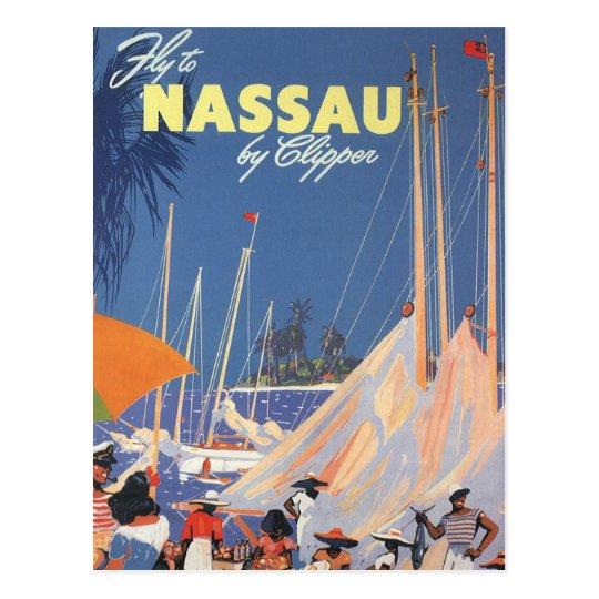 Vintage Travel, Nassau Harbor, Florida, Sailboats Postcard