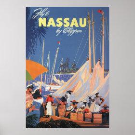 Vintage Travel, Nassau Harbor, Florida, Sailboats Posters