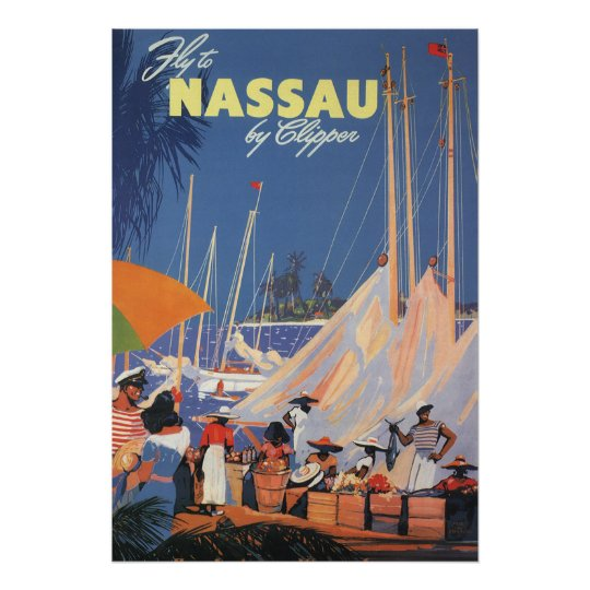 Vintage Travel, Nassau Harbor, Florida, Sailboats Poster
