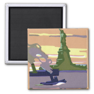 Vintage Travel, New York City, Statue of Liberty 2 Inch Square Magnet