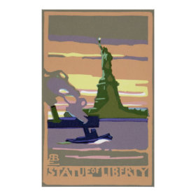 Vintage Travel, New York City, Statue of Liberty Poster