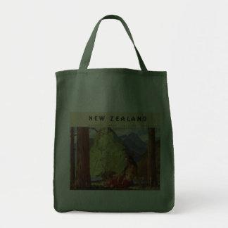 Vintage Travel, New Zealand Landscape Native Woman Bags