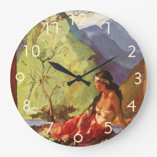 Vintage Travel, New Zealand Landscape Native Woman Wall Clocks