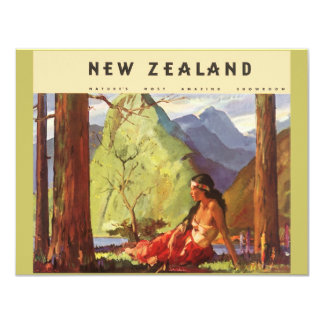 "Vintage Travel, New Zealand Landscape Native Woman 4.25"" X 5.5"" Invitation Card"