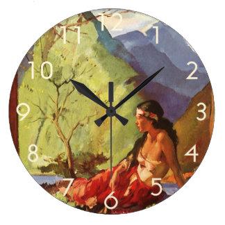 Vintage Travel, New Zealand Landscape Native Woman Large Clock