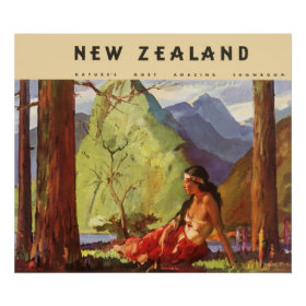 Vintage Travel, New Zealand Landscape Native Woman Print
