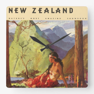 Vintage Travel, New Zealand Landscape Native Woman Square Wall Clock