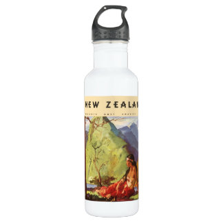 Vintage Travel, New Zealand Landscape Native Woman Stainless Steel Water Bottle
