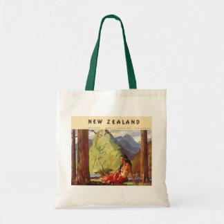 Vintage Travel, New Zealand Landscape Native Woman Tote Bag