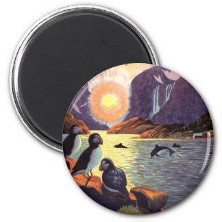 Vintage Travel, Norway Fjord Land of Midnight Sun 2 Inch Round Magnet