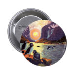 Vintage Travel, Norway Fjord Land of Midnight Sun Pinback Button