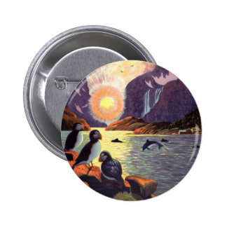 Vintage Travel, Norway Fjord Land of Midnight Sun Pinback Button
