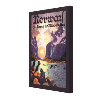 Vintage Travel, Norway Fjord Land of Midnight Sun Canvas Print