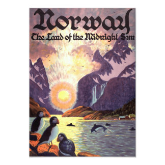 Vintage Travel, Norway Fjord Land of Midnight Sun Card
