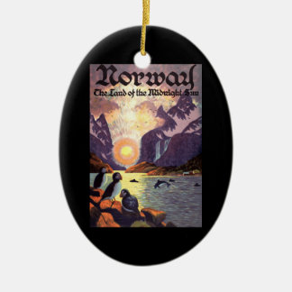 Vintage Travel, Norway Fjord Land of Midnight Sun Ceramic Ornament