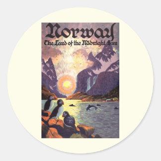 Vintage Travel, Norway Fjord Land of Midnight Sun Classic Round Sticker