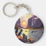 Vintage Travel, Norway Fjord Land of Midnight Sun Basic Round Button Keychain